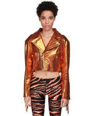 Оранжевая кожаная куртка с бахромой Jeremy Scott