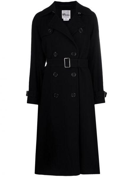 Черный тренчкот с поясом на пуговицах двубортный Comme Des Garçons Noir Kei Ninomiya