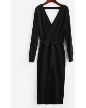 Платье с поясом черное Zaful
