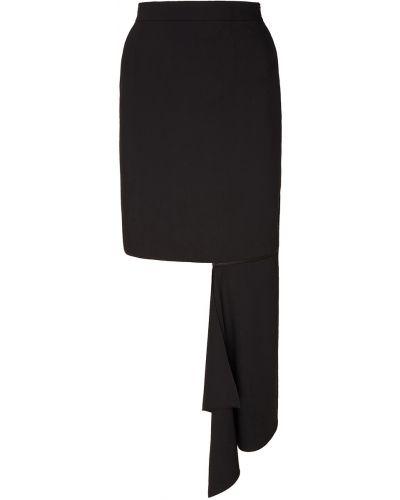 Шерстяная черная юбка мини ли-лу