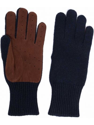 Niebieskie rękawiczki zamszowe Brunello Cucinelli