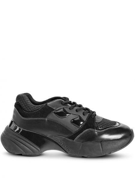 Замшевые черные кожаные кроссовки на шнуровке со вставками Pinko