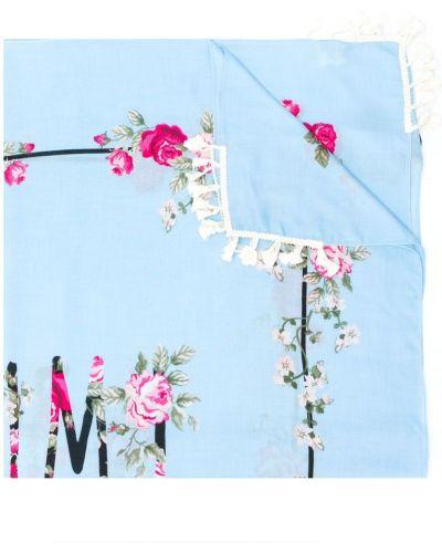Синий шарф с цветочным принтом Twin-set
