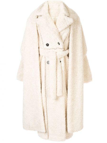 Коралловое длинное пальто с поясом с воротником Ruban
