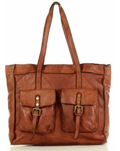 Skórzany torba na zakupy z kieszeniami safari Mazzini