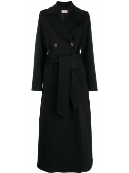 Черное пальто классическое с капюшоном Alberto Biani