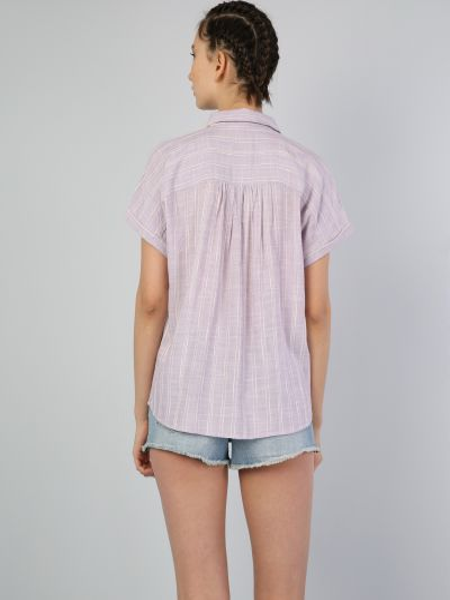 Фиолетовая рубашка с короткими рукавами Colin's