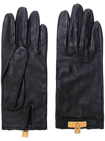Золотистые кожаные черные перчатки Hermes