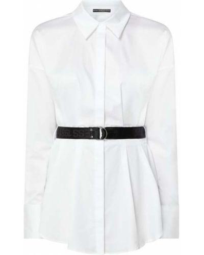 Biała bluzka z paskiem bawełniana Guess