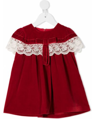 Красное прямое платье с вырезом круглое Patachou