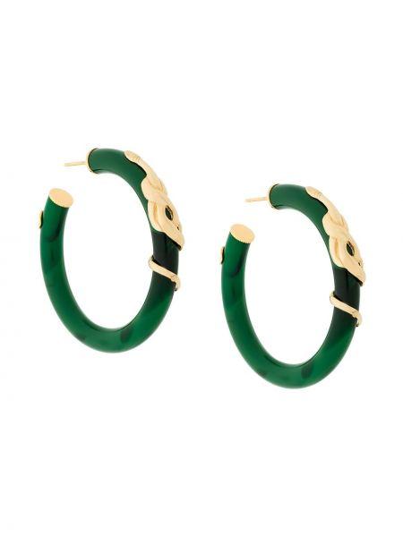 Зеленые золотые серьги круглые позолоченные с бабочкой Gas Bijoux