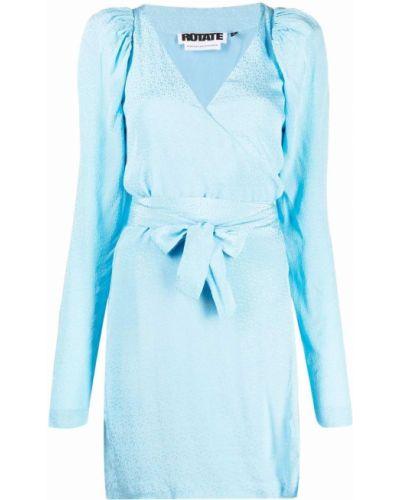 Платье мини с V-образным вырезом - синее Rotate