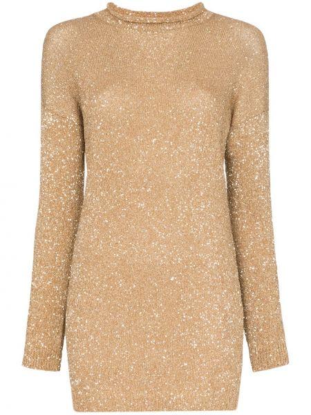 Платье мини в рубчик с рукавами Saint Laurent