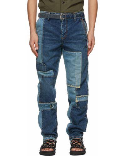 Niebieskie jeansy z paskiem srebrne Sacai