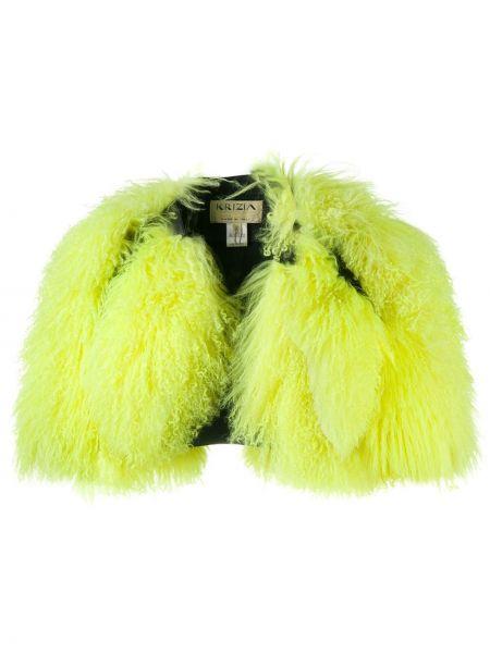 Кожаная открытая с рукавами зеленая куртка Krizia Pre-owned