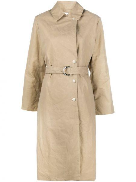 Бежевое пальто классическое с воротником из вискозы Roseanna
