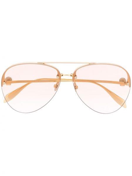 Złote różowe okulary Alexander Mcqueen Eyewear