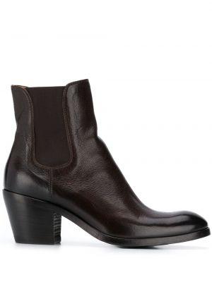 Кожаные коричневые кожаные ботильоны на каблуке с круглым носом Alberto Fasciani