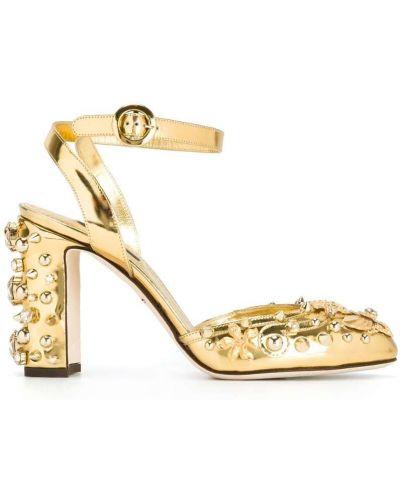 Кожаные туфли со стразами Dolce & Gabbana