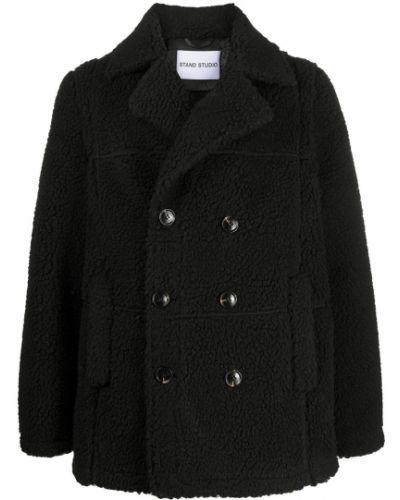 Черное длинное пальто на пуговицах свободного кроя со вставками Stand