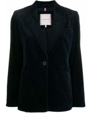 Приталенный синий классический пиджак с карманами Tommy Hilfiger