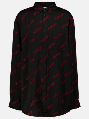 Черная сатиновая рубашка Balenciaga