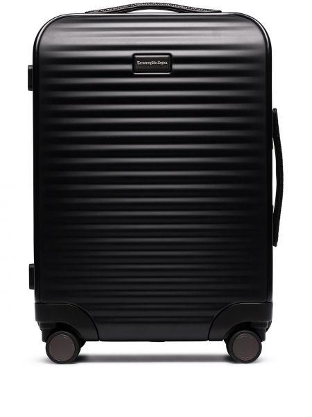 Черный чемодан на молнии с пряжкой Ermenegildo Zegna