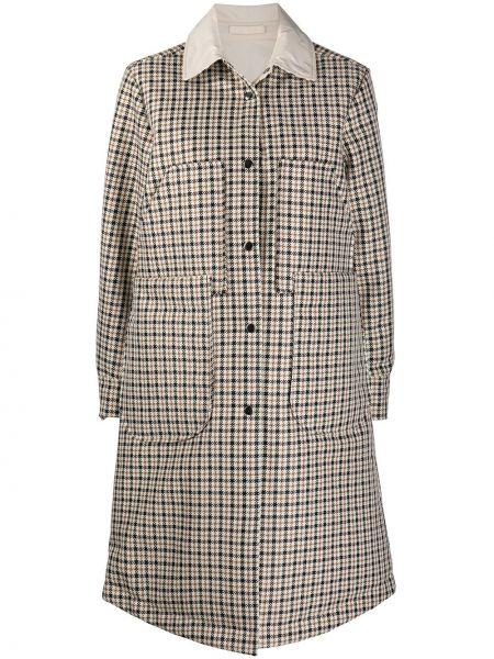 Бежевое пальто классическое двустороннее с воротником Semicouture