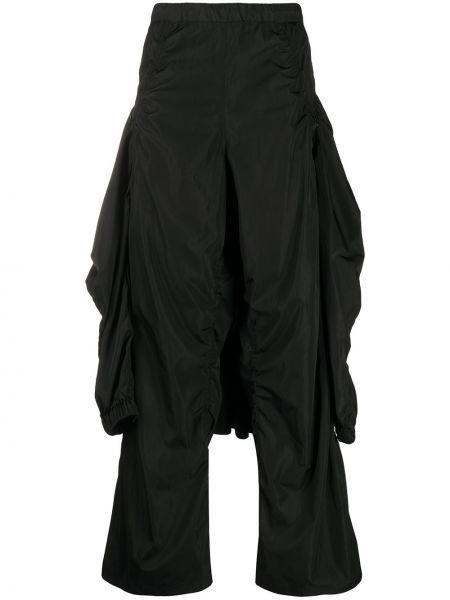 Нейлоновые черные свободные брюки свободного кроя с высокой посадкой Hyein Seo