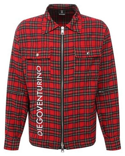 Хлопковая красная рубашка Diego Venturino