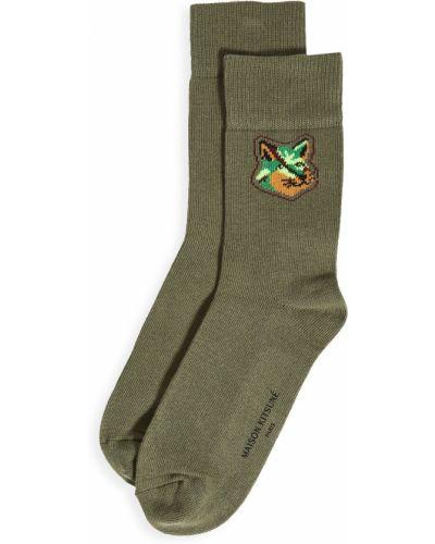 Ватные хлопковые зеленые носки Maison Kitsuné