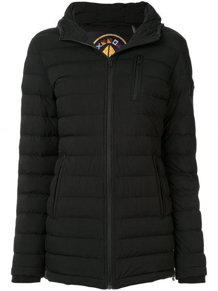 Приталенное черное длинное пальто с капюшоном Moose Knuckles
