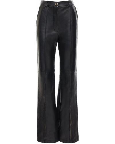 Skórzany rozbłysnął z wysokim stanem spodnie prążkowany Gucci