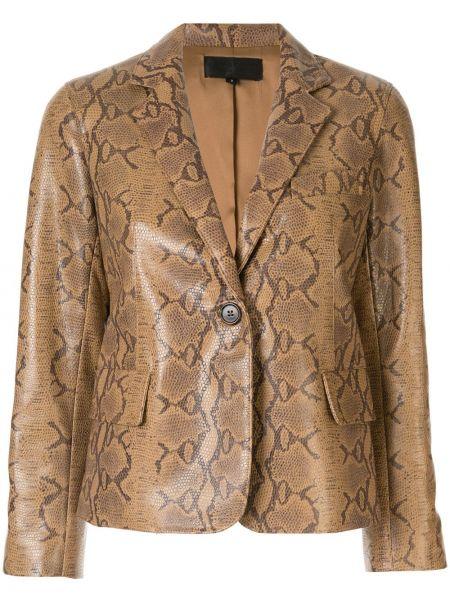 Коричневый кожаный короткая куртка с карманами Nili Lotan