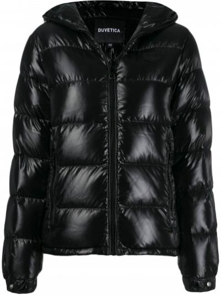 Куртка с капюшоном черная стеганая Duvetica