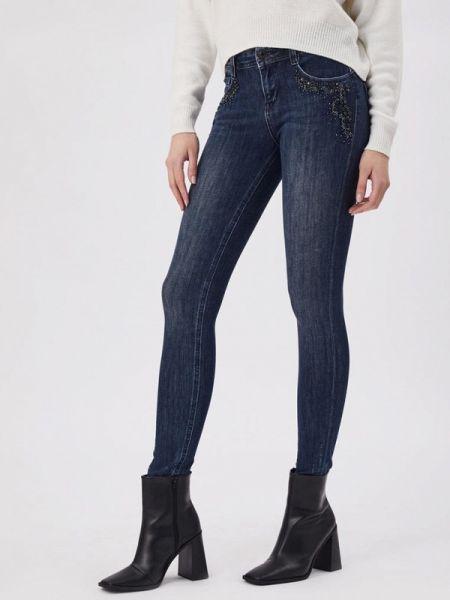 Синие джинсы-скинни с пайетками D'she