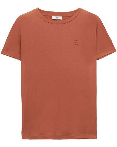 Коричневая хлопковая футболка с вышивкой Sandro