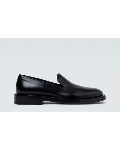 Czarne loafers skorzane kaskadowe Jil Sander