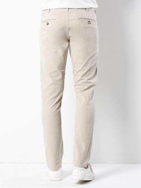 Хлопковые бежевые брюки с карманами Colin's