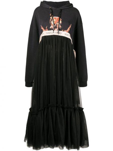 Расклешенное классическое платье из фатина с капюшоном Viktor & Rolf