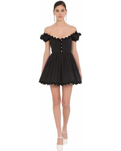 Приталенное черное платье мини с декольте Miu Miu