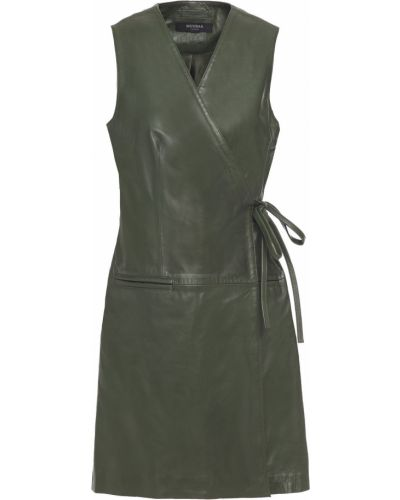 Кожаное зеленое платье мини с подкладкой Muubaa