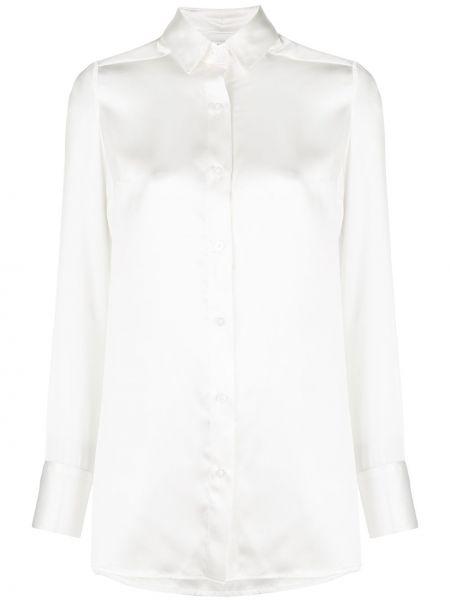 Прямая белая шелковая туника с длинными рукавами мембранная Dresshirt