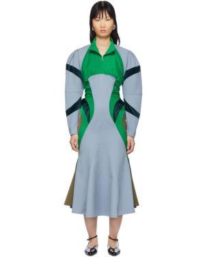 Платье макси синее с воротником Kiko Kostadinov
