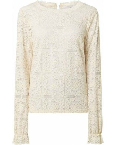 Bluzka koronkowa z długimi rękawami - biała Cream
