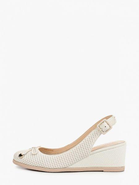 Белые кожаные туфли с открытой пяткой из натуральной кожи Pazolini