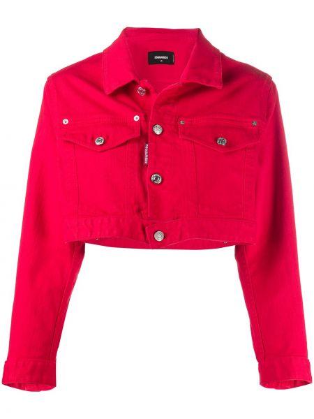 Хлопковая джинсовая куртка - красная Dsquared2