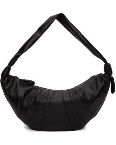 Czarny z paskiem torba kosmetyczna z prawdziwej skóry Lemaire