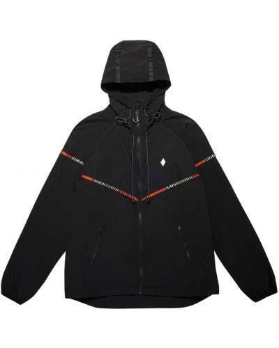 Czarna kurtka z kapturem z haftem Marcelo Burlon County Of Milan