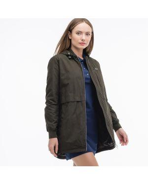 Куртка с капюшоном на молнии зеленая Lacoste